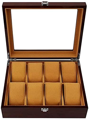 PLMOKN Tapa de Vidrio 8 Caja de Reloj Joyas de exhibición de la Caja de Almacenamiento Bandeja de Pulsera con 8 Almohadas de Almacenamiento de eliminación y Tapa de Vidrio, Hebilla de Metal con Llave