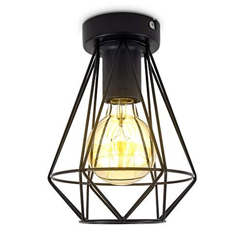 B.K.Licht I Lámpara de techo de alambre I 1 foco I E27 I Vintage I 165 mm de diámetro I Negro I Bombilla no incluida