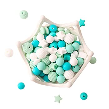 Baby Silicone Beads 100pcs BPA Free Beads Blue Series DIY Jewelry Chewable Nursing Necklace Accessories