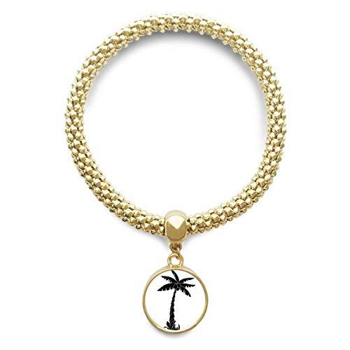 DIYthinker Damen Pflanze Kokosnuss-Baum-Schwarz Silhouette Goldene Armband Laufende Anhänger Schmuck-Kette
