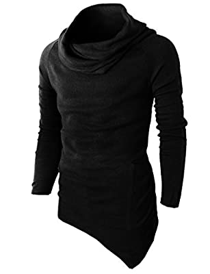 H2H Mens Casual Turtleneck Slim Fit Pullover Sweater Oblique Line Bottom Edge Black US S/Asia M (KMTTL046) by