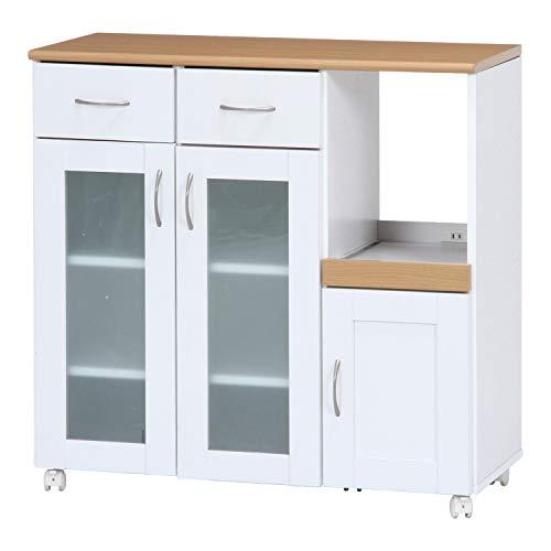 不二貿易 キッチン収納 キッチンカウンター 幅90cm ホワイト スライド棚 コンセント付き サージュ 96819