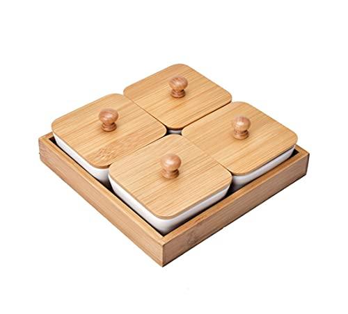 JasCherry Cuencos de Aperitivo con Bandeja de madera, Bandejas para Aperitivos de Porcelana con Tapa de madera, Plato de...