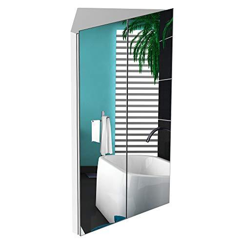kleankin Corner Mirrored Bathroom Cabinet w/ 3 Shelves 2 Doors On-Wall Storage Unit Organiser Stainless Steel Frame Home Furnishing