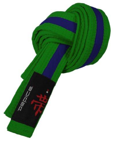 DEPICE Gürtel Karategürtel Judogürtel - Expositor de Cinturones de Artes Marciales, Color Verde/Azul, Talla 260 cm