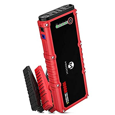 MOOCK 1000A Peak 18000mAh Car Jump Starter(Up to 7.0L Gas or 4.5L Diesel Engine), 12V Auto Battery Booster Portable Power Pack, Built-in LED Flashlight with Jumper Cables Heavy Duty