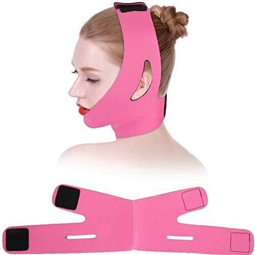 Axjzh Ceinture Plus Mince pour Le Visage, Masque De Ceinture De Bandage Face-Lift Double Chin Skin Strap, V Face Line Belt Respirant Chin Lift Strap Anti-Rides Sleep Mask Strap,Rose