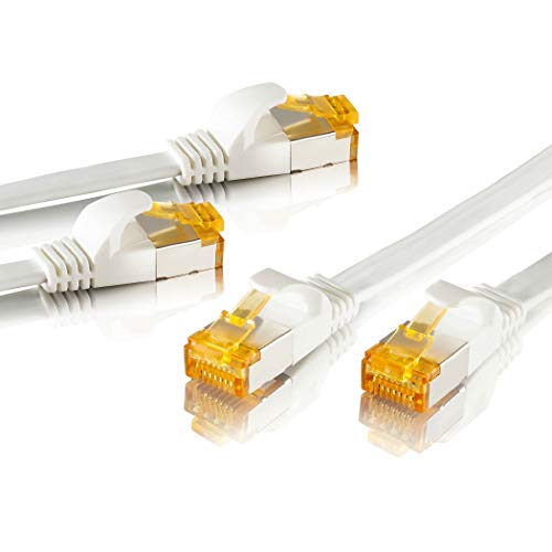 SEBSON 2X Cable de Red Ethernet 10m Cat 7 Plano, LAN Patch Cable, 10Gbps, U-FTP apantallado, Conector RJ45 para Router, Ordenador, Módem, TV