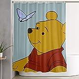 milkcolor Lustiger Stoff-Duschvorhang Winnie The Pooh mit Schmetterling Wasserdichtes Badezimmer-Dekor mit Haken 60 x 72 Zoll