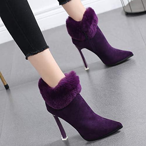 HRCxue zapatos de la Corte Martin botas de algodón, zapatos de mujer, además de Botines de Terciopelo de tacón Alto, Estilete, botas descubiertas, 38, púrpura