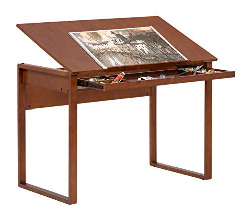 SD STUDIO DESIGNS, Sonoma Brown Ponderosa Wood Drawing Table 42' Wide, Angle Adjustable, W X 24' D