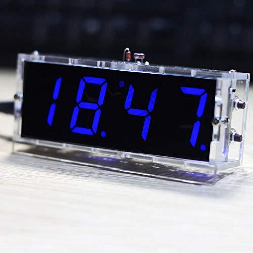 Kit Orologio Digitale,4-Stellige Digitaluhr-Kits Controllo della luce Temperatura Data e ora Display con custodia trasparente TimerKitfai-da-te-Blu