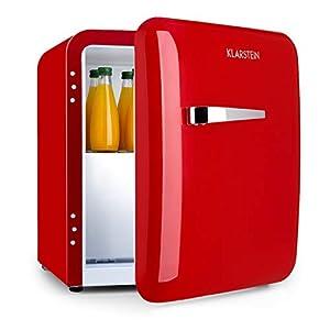 KLARSTEIN Audrey Mini - combiné mini réfrigérateur 32L, congélateur 5L, mini-bar, compact, sur pied, réfrigération par compression, refroidissement 0-10°C, capacité 37L - rouge