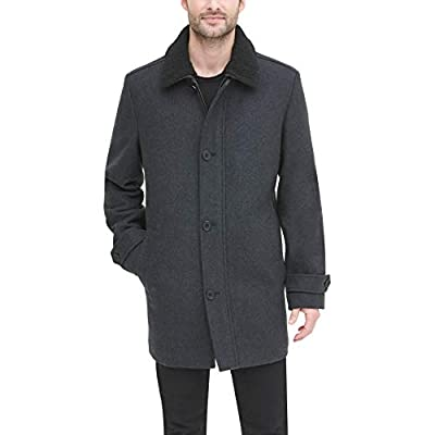 DKNY Men's Wool Blend Walking Coat with Removable Sherpa Collar, Charcoal, Large by DKNY