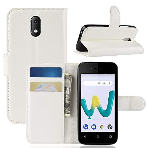 HongMan Handyhülle für Wiko Sunny 3 Mini Hülle, Premium Leder PU Flip Hülle Wallet Lederhülle Klapphülle Magnetisch Silikon Bumper Schutzhülle Tasche mit Kartenfach Geld Slot Ständer, Weiß