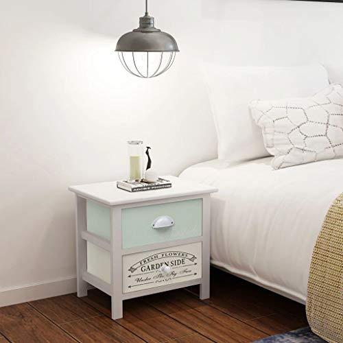 UnfadeMemory Nachttisch Nachtschrank Französischer Landhausstil Holz Nachtkonsole Schubladenschrank Schlafzimmer Ablagetisch mit 2 Schubladen 38 x 28 x 38 cm (2 STK.)