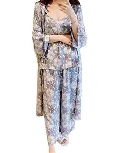 HaiDean pyjama-set dames lente herfst bloemenprint camisole badjas broek jongens chic cardigan 3-delig vrije tijd chic nachthemd lange mouwen V-hals pyjama ochtendjas