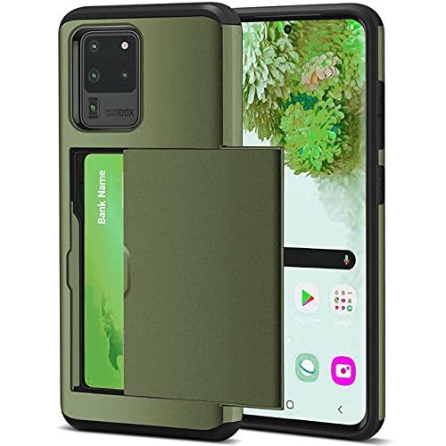 Per Samsung S20 FE S21 Note 20 Ultra 10 9 8 S10 E 5G S9 S8 Plus Slide Armor Portafoglio slot per schede Custodia per Galaxy S7 S6 Edge Plus, verde militare, per SM Note 20 Ultra