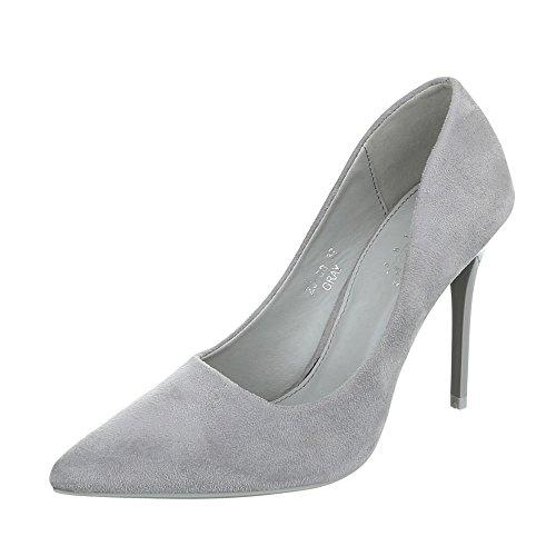 Ital-Design High Heel Damen-Schuhe Plateau Pfennig-/Stilettoabsatz High Heels Pumps Hellgrau, Gr 36, Zj-09-