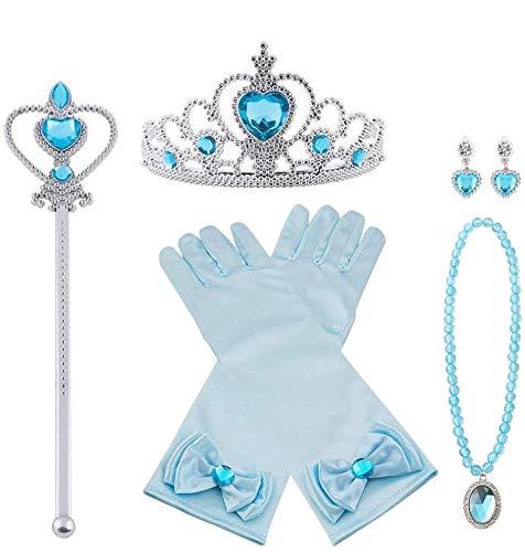 Vicloon Princesa Vestir Accesorios, 7 Pcs Azul Elsa Princesa