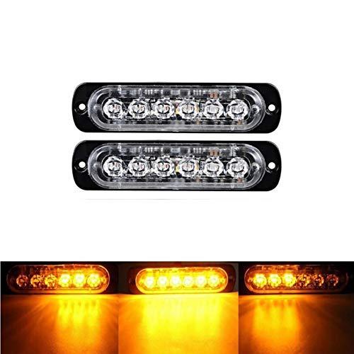 BIJANSEN Frontblitzer Orange Blitzer, Warnlicht Stroboskoplicht,Waterproof IP68 Warnung Beacon Blinklichter Blitzmodul Notfall Licht Achtung Blinklicht für Emergency (Yellow, 2 PC- 6SMD)