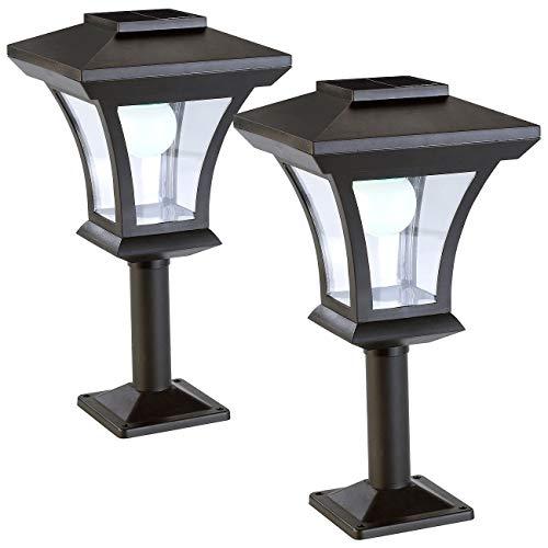 Lunartec Solar-LED-Sockelleuchten: 2er-Set Solar-LED-Standleuchten im Laternen-Design, 45 lm, 0,3 Watt (Solar-LED-Mauerleuchte)