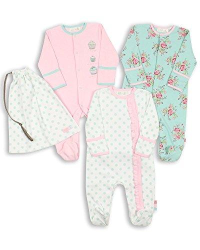 The Essential One - Baby Mädchen Schlafanzuge/Schlafanzug/Einteiler/Strampler (3-er Pack mit Beutel) 68/74cm ESS75
