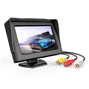 B-Qtech 4.3 inch Color TFT LCD Display Backup Camera Monitor Rear View Reverse Camera Waterproof for Car SUV Van Truck Power Supply  DC 12V