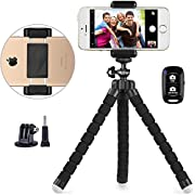UBeesize Phone Tripod, Portable and Adjustable Camera Stand Holder with Wireless Remote and Universal Clip, Compatible with Cellphones, Sports Cameras