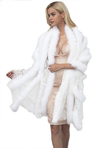 YuanDian Mujer Otoño E Invierno Novia Boda Encaje Piel Sintetica Largo Chal Elegante Suave Cálido Pelo Sintetico Imitacion Boleros Estolas Capas para Fiesta Noche Vestido Blanco Talla única