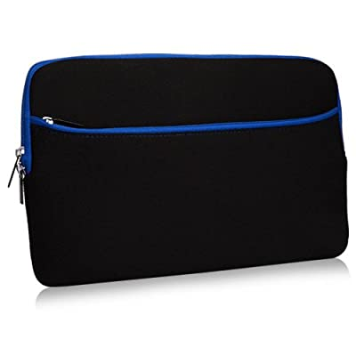 Dell Latitude 7212 Rugged Extreme Tablet Case, BoxWave [SoftSuit with Pocket] Soft Pouch Cover w/Sleeve for Dell Latitude 7212 Rugged Extreme Tablet - Jet Black with Blue Trim
