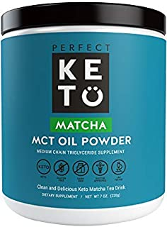 Perfect Keto MCT Oil Powder: Ketosis Supplement (Medium Chain Triglycerides, Coconuts) for Ketone Energy. Paleo Natural Non Dairy Ketogenic Keto Coffee Creamer (Matcha)