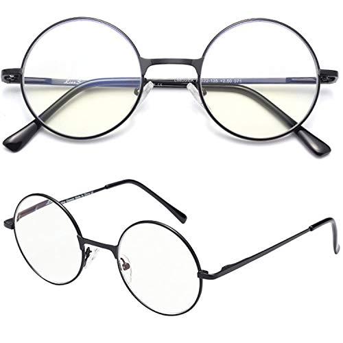 レンサン(LianSan)老眼鏡 丸 メガネ サークル ロイド ラウンド レディース メンズ 女性 男性 ファッション おしゃれな シニアグラス リーディンググラス 老眼鏡 L6800 (+3.00, ブラック)