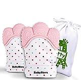 Beißring Handschuhe Silikon für Babys ab 2 Monaten - 100% BPA-Frei - Für Mädchen (2 Stück) (Rosa)