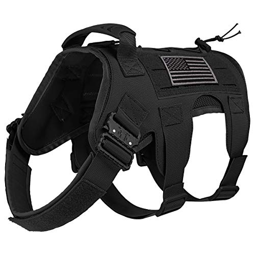 IronSeals Tactical Service Dog Vest Harness Molle Patrol K9 Dog Harness Comfy Mesh Inner Padding Dog Vest with Metal Quick-Release Buckle and Soft Rubber Control Handle