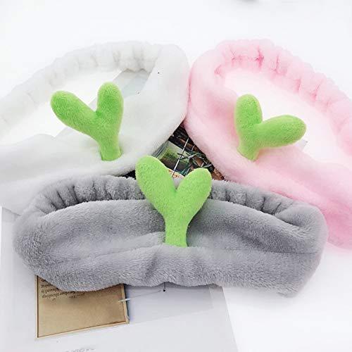 puran Bandeaux Mignons pour Femmes, Bean Bud Cactus Bandeau Stretchy Hair Band Accessoire De Lavage De Visage Blanc Bourgeon