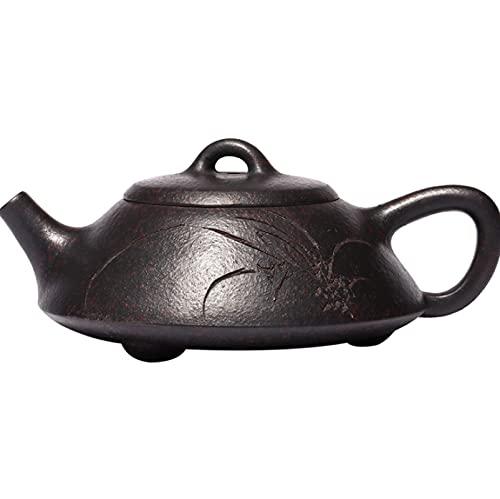 Tetera Zisha Yixing horno de leña de mina original cambiado ceremonia del té tetera de piedra plana regalo 160 ml