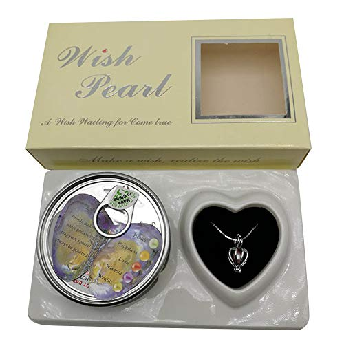 Hpory Wish Pearl Necklace with Necklace in Gift Box, Wish Kit with Pendant Necklace, Open Your Own Freshwater Oyster Pearl, Pearl Necklace Kit, Love Purity Wish Pearl Kit Gift Box