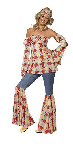 Smiffys 39434X1 - Dames Vintage Hippie jaren 70 kostuum, Neckholder Top, mouwen, slagbroek en hoofdband, maat: 48-50, meerkleurig
