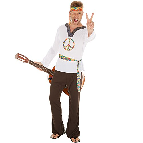 dressforfun Costume da Uomo - Hippie Jimmy | Camicia con il Simbolo Della Pace e Pantaloni | Con Fascia per Capelli e Cintura (L | No. 300954)