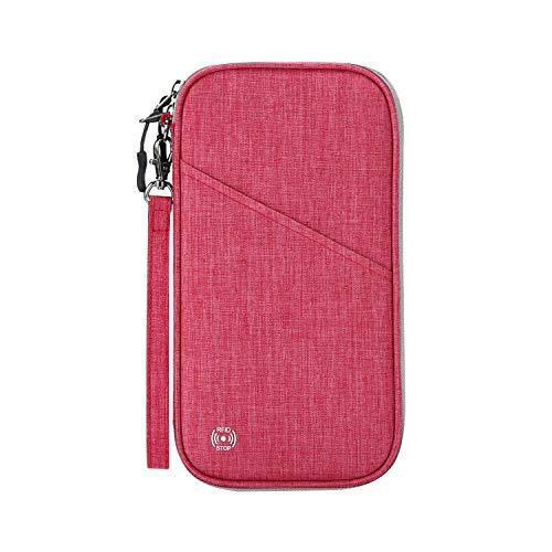 SHINPACK パスポートケース スキミング防止 アコーディオンデザイン 家族 国内海外旅行用品 四つのパスポート 通帳ケース 航空券 紙幣 カード 小銭 ペン 鍵など収納可 大容量 トラベルウォレッド パスポートバッグ ポーチ (ローズ)
