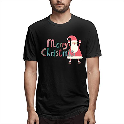 Preisvergleich Produktbild Mode Weihnachtsmann mit dir Freude Weihnachten Herren Kurzarm T-Shirt Weihnachtskarte Sprüche T-Shirt Weihnachtsbeleuchtung Shirts Herren Schwarz XXL