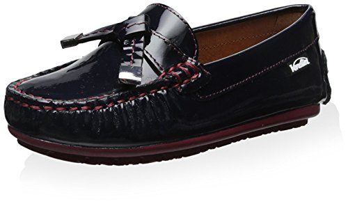 Venettini Cleo Patent Loafer with Contrast Stitching, Navy, 24 M EU/8 M US Toddler