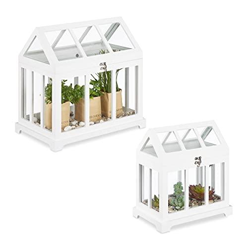 Relaxdays Mini Gewächhaus, 2er Set, für die Fensterbank, Indoor Treibhaus, Glas und MDF, Kräuter, Blumen, 2 Größen, weiß