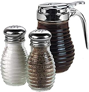 American Metalcraft Beehive Glass Syrup Dispenser with Salt and Pepper Shakers