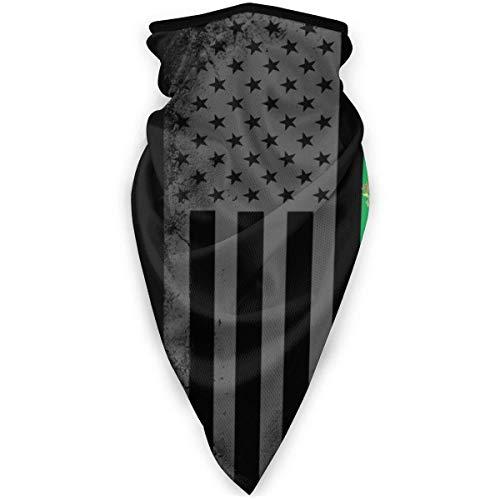 Bandanas Bandera de América con bufanda verde y roja para la cara, pasamontañas ultra suave, diadema, gorro, polaina para el cuello, pañuelo para el cuello de pez de esquí, abrigo para la cabeza