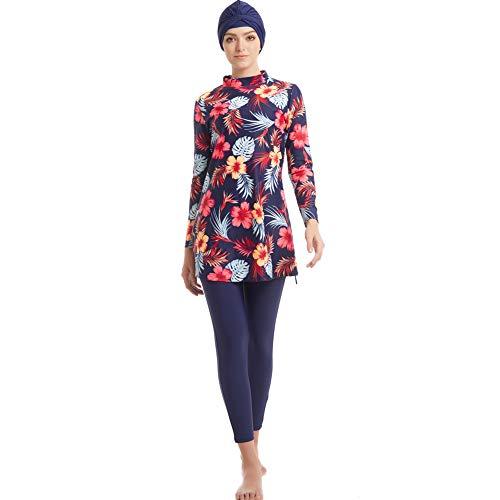 HAOFAN Pañal para baño musulmán Mujeres Niñas Traje de baño Muslim Swimwear Niñas Damas Modeste Protectora Completa Beachwear Burqini Burkini