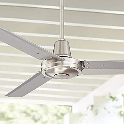 """44"""" Plaza Modern Industrial Outdoor Ceiling Fan with Remote Control Brushed Nickel Damp Rated for Patio Porch - Casa Vieja"""