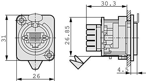 Neutrik NE8FDV-YK Ethercon-Einbaubuchse