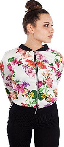 Loomiloo Blouson Damen Übergangsjacke Blumenprint Fliegerjacke mit Blumen Retro Pilotenjacke floral Blüten Muster Bomberjacke (S/M, Weiß/Rosa)